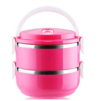 Harga 304 Stainless steel Mulit layer lunch box.Plastic Lunch box Lunchbox Bento Lunch Box Food Container Student's lunch box(One Layer-Pink)
