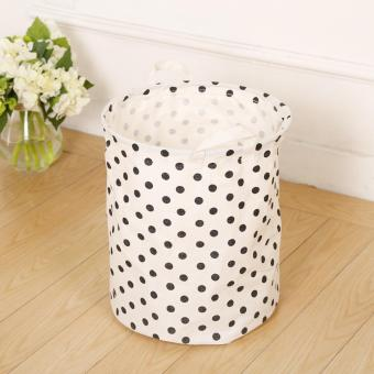 Polka Dot Laundry Washing Basket Home Bag Housekeeping Use Bags Folding Dirty Clothes Toy Storage Pouch - intl