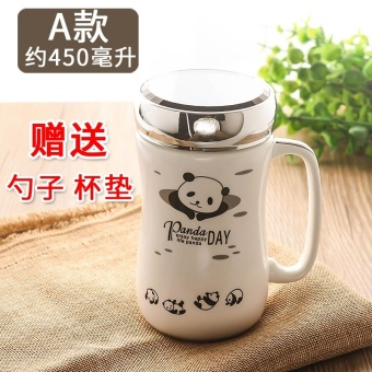 Ceramic cup mug cup with lid spoon drink cup ceramic bone china cup coffee cup large capacity couple cup Office