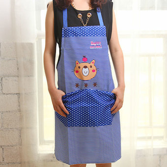 Harga Moonar Cartoon Bear Pattern Waterproof Kitchen Apron with Pocket (Blue)