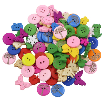 Harga Bluelans 2 Holes 4 Holes Mixed Dyed Sewing Wooden Buttons Scrapbooking DIY 100Pcs