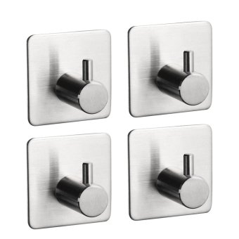 Harga 4pcs 304 Stainless Steel Self Adhesive Hook Key Rack Garage Storage Organizer Sticky Wall Hanger - intl