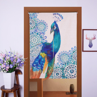 Harga Japanese Noren Style Door Curtain 85x125cm Blue Peacock
