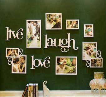 Harga Live Laugh Love Decorative Wall Photo Frames (White)