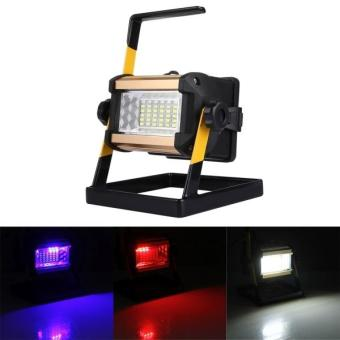 Harga 50W 36 LEDs 2400 LM 6000-6500K IP65 Waterproof Hight Brightness White Light Red And Blue Light Flashing Warning Lights Rechargeable Floodlight Lamp With Holder - intl