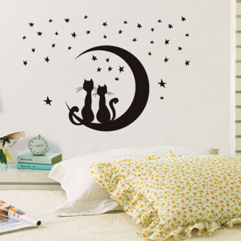Harga Moon cat removable wall stickers romantic wallpaper bedroom living room sofa background wall stickers wall sticker