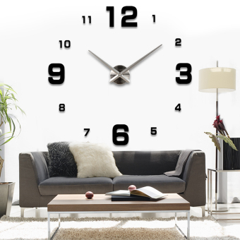 Harga Modern Simple Style DIY Large 3D Wall Sticker Time Clock for Home Office Decoration Black