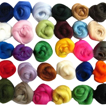 Harga Set of 36 colors Merino Wool Fibre Wool Yarn Roving For Needle Felting Craft