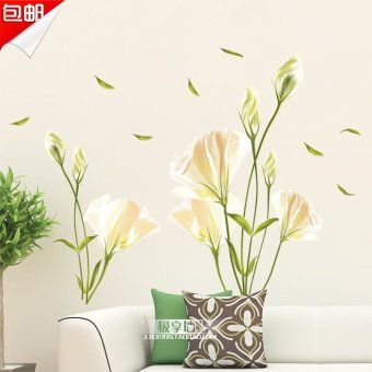 Harga Jade lily flower bedroom cozy living room tv backdrop stickers wall stickers room decorations decals creative sticker wallpaper