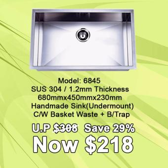 Harga SUS 304 | 1.2mm Thickness Handmade Kitchen Sink(Under mount) | Model:6845 single bowl
