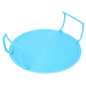 Microwave Oven Tray Plate Rack Layered Double Mat Insulated Disc Bowl Cover Blue(Export)