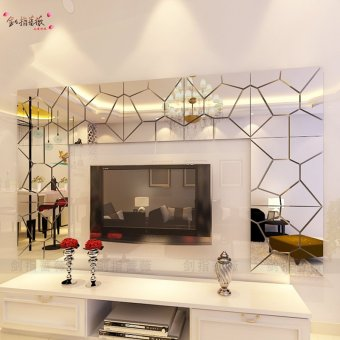 Harga Geometric square type tortoise mirror 3d three-dimensional wall stickers bedroom living room tv backdrop restaurant self adhesive wall stickers