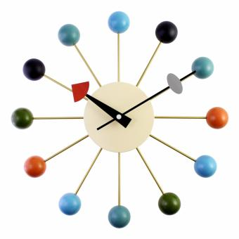 "Harga JustNile Decorative Wooden and Metal Analog Wall Clock - 12.9"" Colorful Wooden Balls"
