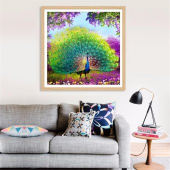 Harga DIY 5D Diamond Peacock Embroidery Painting Flower Cross Stitch Home Decoration - intl