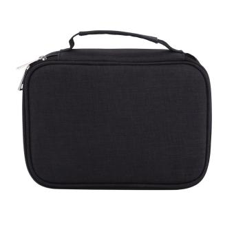 72 Slots Multifunction Foldable Fabric Pencil Case Large Capacity Zipper Pen Holder Bag- Black -