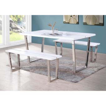 Harga T001 White-matt Furnishing Dining Table with two long Benches
