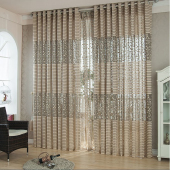 Harga Leaf Tulle Door Window Sheer Curtain (Brown)