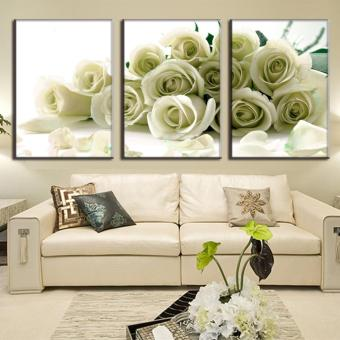 Harga 3 Pcs/Set Hot Sale Canvas Picture flower Painting White Roses canvas print wall pictures for living room HD Print Painting (No Frame) - intl