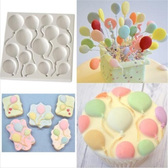 Balloon Birthday BALLOONS Fondant Cake Silicone Molds Cupcake Mould - intl