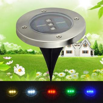 Harga Outdoor Lighting Light-operated Solar Power 3 LED Round Buried Lamp Underground Light - intl