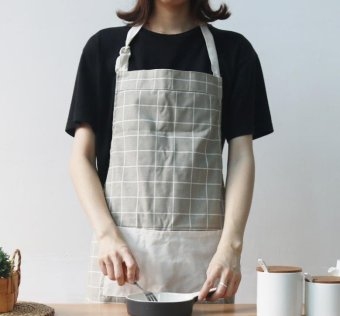 Harga 1 Apron for Cooking Working Cotton Linen Arpon Home Kitchen Microwave Oven Baking Roaster Coffe shop Restaurant Chef Safty Protective Apron Mother's day gift(Grey) - intl
