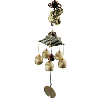 46CM Lucky elephant with 5 Small Bells Bronze Wind Chimes Windchimes Outdoor Garden Decoration Yard Decor - intl