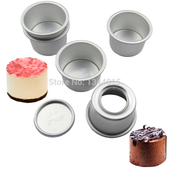 Harga 5pcs/lot 2inch(Dia 6cm) Aluminum Alloy Round Mini Cake Pan Removable Bottom Pudding Mold DIY Baking Kitchen Tools (Size: 2 inch) - intl