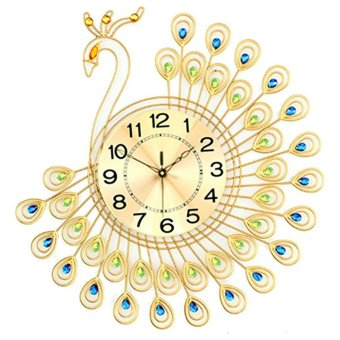 Harga Hot Sales Peacock Wall Clock with 40pcs Diamonds Decorative Creative - intl