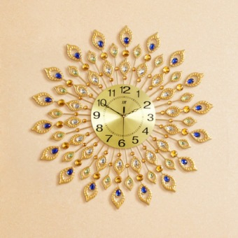 Harga 72*72cm European Style Peacock Diamond Mute Quartz Wall Clock - intl
