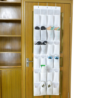 24 Pockets Over Door Hanging Closet Organiser Home Tidy Hook Up Shoe Storage Unit Rack Multi-Layer Space Saver Wardrobe Assorted Pouch