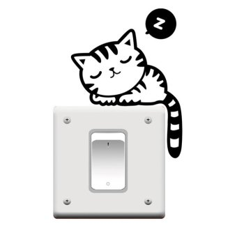 Harga Okdeals 1PC Vinyl Animal Switch Stickers Removable Wall Decals Sleeping Cat