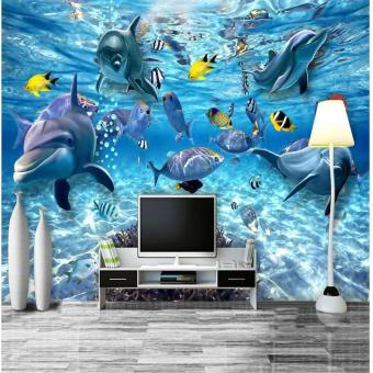 Harga Eco-friendly Custom Eco-friendly photo wallpaper 3D stereo underwater world of marine fish living children's room TV background 3d mural wall paper - intl
