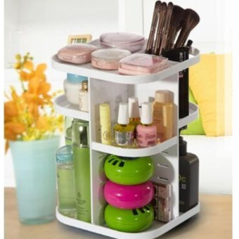 Harga Korean La Vien Tree 360 Degree Rotating Cosmetic Organizer (White)