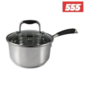 Harga 555 Tri-Ply Stainless Steel Saucepan with Tempered Glass Lid 16cm