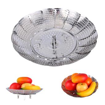 Harga Stainless Steel Mesh Holes Vegetable Steamer Basket Cooker M - intl