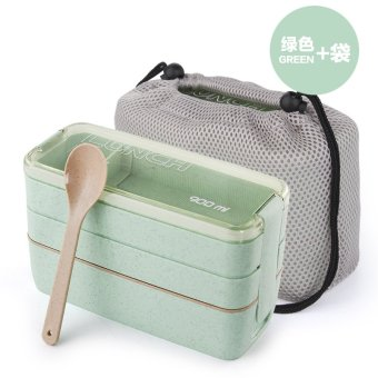 Harga High Quality Three Layers School Bento Lunch Box with cooler bag Lunchbox Food Storage Container microwave oven private - intl