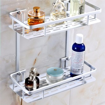 Harga Home Bathroom Space Side Mount Shower Caddy Storage Organizer Shelf Rack Soa 2 Layers - Intl