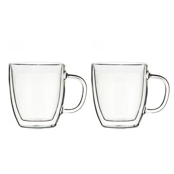 Harga 470 ml Double-wall Insulted Glass Mug, Set of 2 - intl