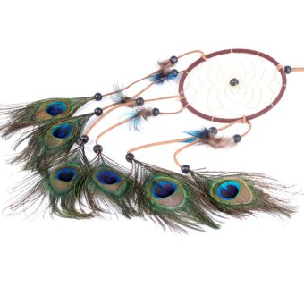 "Harga ream Catcher peacock feather wall hanging decoration ornament-22"" Long C"