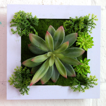 Faux dimensional plant wall decoration