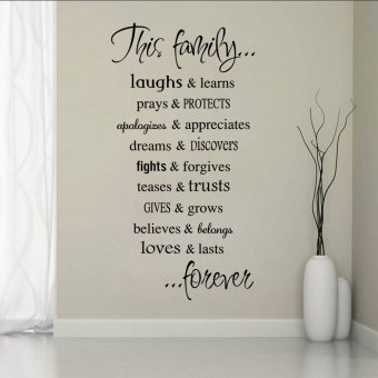 Harga English proverbs wallpaper wall sticker family quote letters entrance living room bedroom decoration stickers waterproof stickers