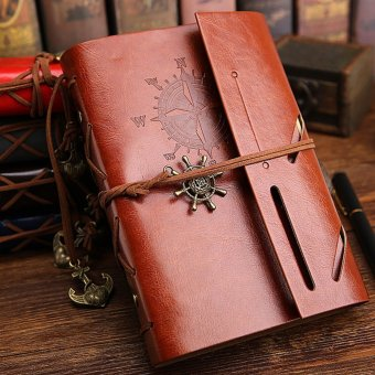 Harga Pirate Anchor Travel Diary Nautical Vintage Style PU Cover Notebook - intl
