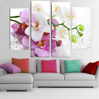Harga 30x80cm 4 Pcs No Frame Pink Flowers Wall Art Picture Modern Canvas Print Painting Home Decoration