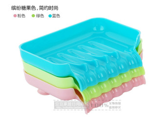 Harga Sucker versatile kitchen shelving rack Drain colored plastic soap dish soap soap box aerobic-Blue - intl