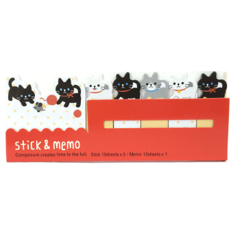 Harga Cat 6in1 Sticky Memo Post It Notes Stick Marker (Red)