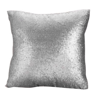 Harga Solid Glitter Sequins Throw Pillow Case Lounge Decor Cushion Gray