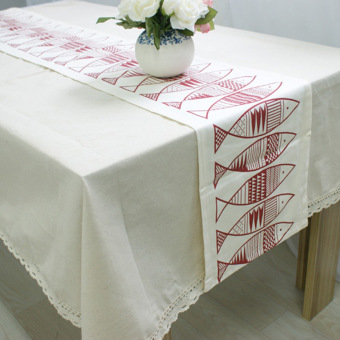Harga 30 x 220 fishes dining linen table runner S30D38 - intl