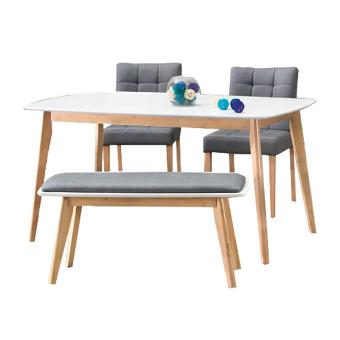 Harga Novena Leon Dining Set with Trendy Bench and Chairs (Natural wood)