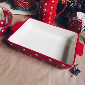 Harga Red Polka Dots Rectangle Baking Dish (BIG)
