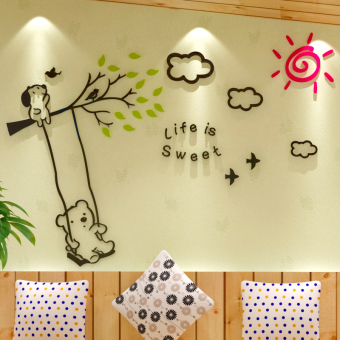 Harga Cartoon acrylic 3d stereoscopic wall stickers children's room cozy bedroom wall stickers living room tv backdrop stickers creative